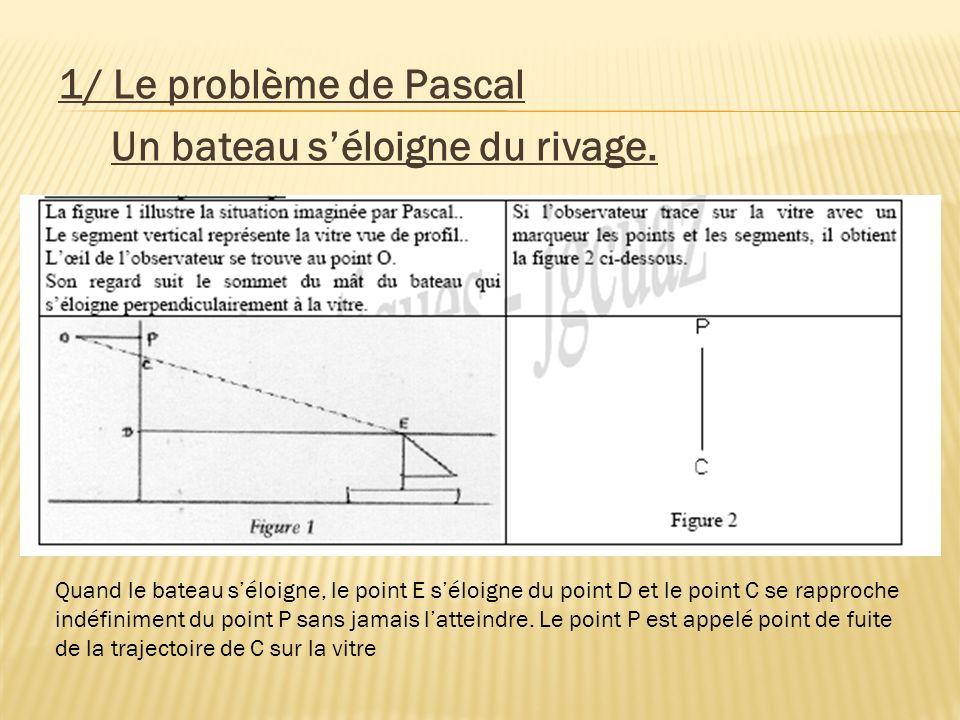 1/ Le problème de Pascal Un bateau s'éloigne du rivage.