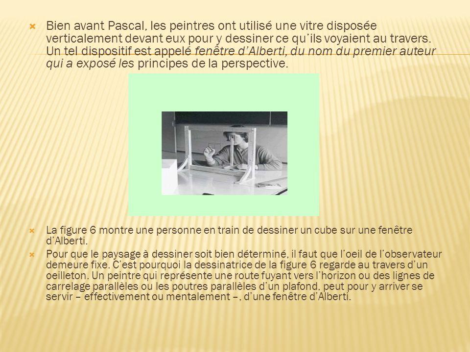 Bien avant Pascal, les peintres ont utilisé une vitre disposée verticalement devant eux pour y dessiner ce qu'ils voyaient au travers. Un tel dispositif est appelé fenêtre d'Alberti, du nom du premier auteur qui a exposé les principes de la perspective.