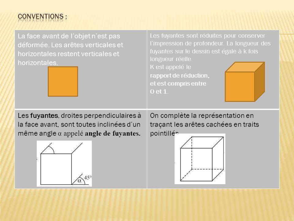Conventions : La face avant de l'objet n'est pas déformée. Les arêtes verticales et horizontales restent verticales et horizontales.