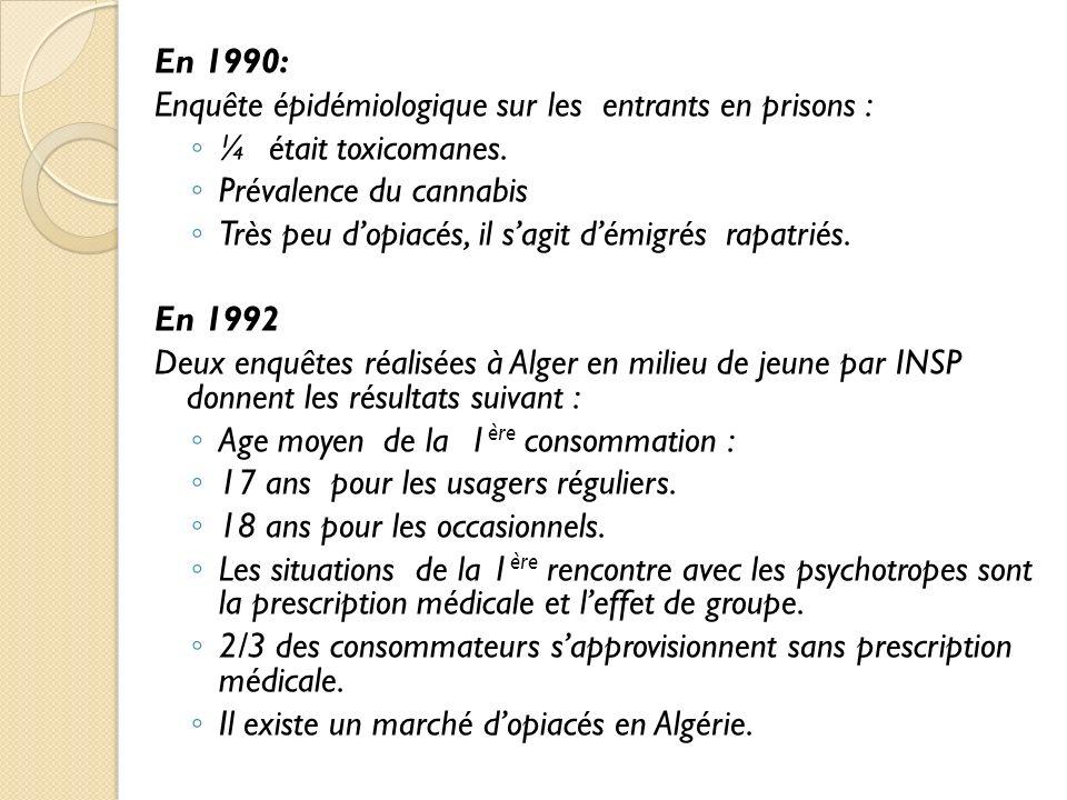 En 1990: Enquête épidémiologique sur les entrants en prisons : ¼ était toxicomanes. Prévalence du cannabis.