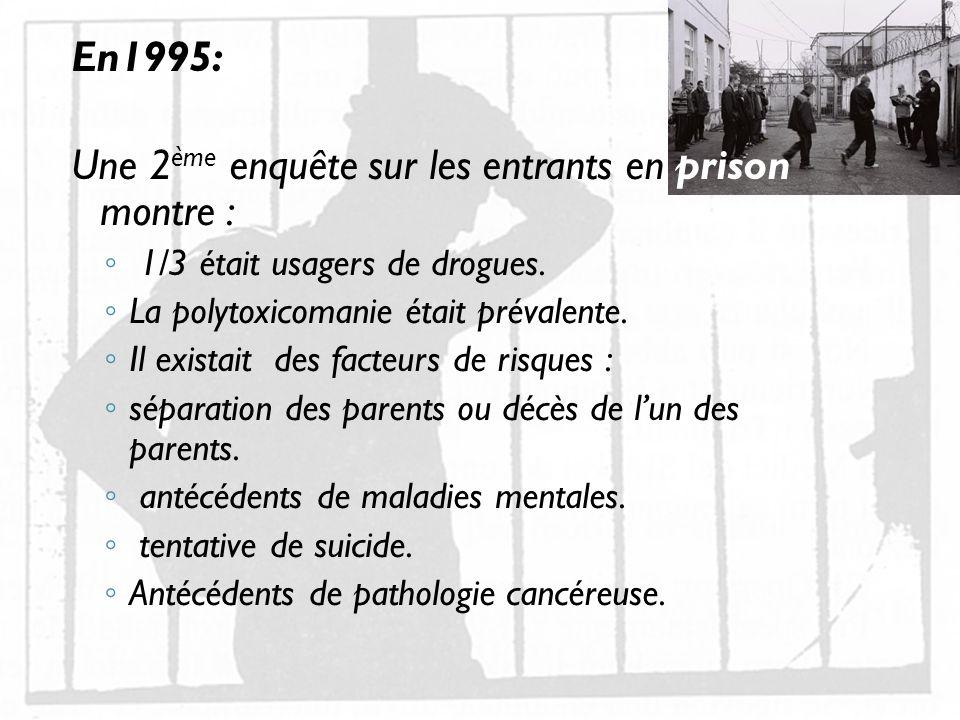 Une 2ème enquête sur les entrants en prison montre :