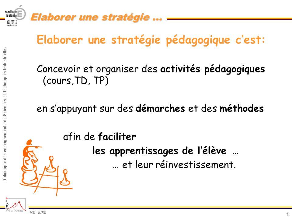 Elaborer une stratégie pédagogique c'est: