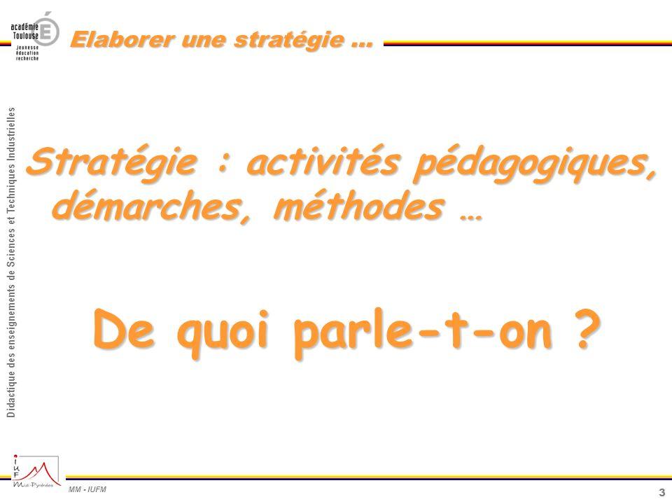 Stratégie : activités pédagogiques, démarches, méthodes …