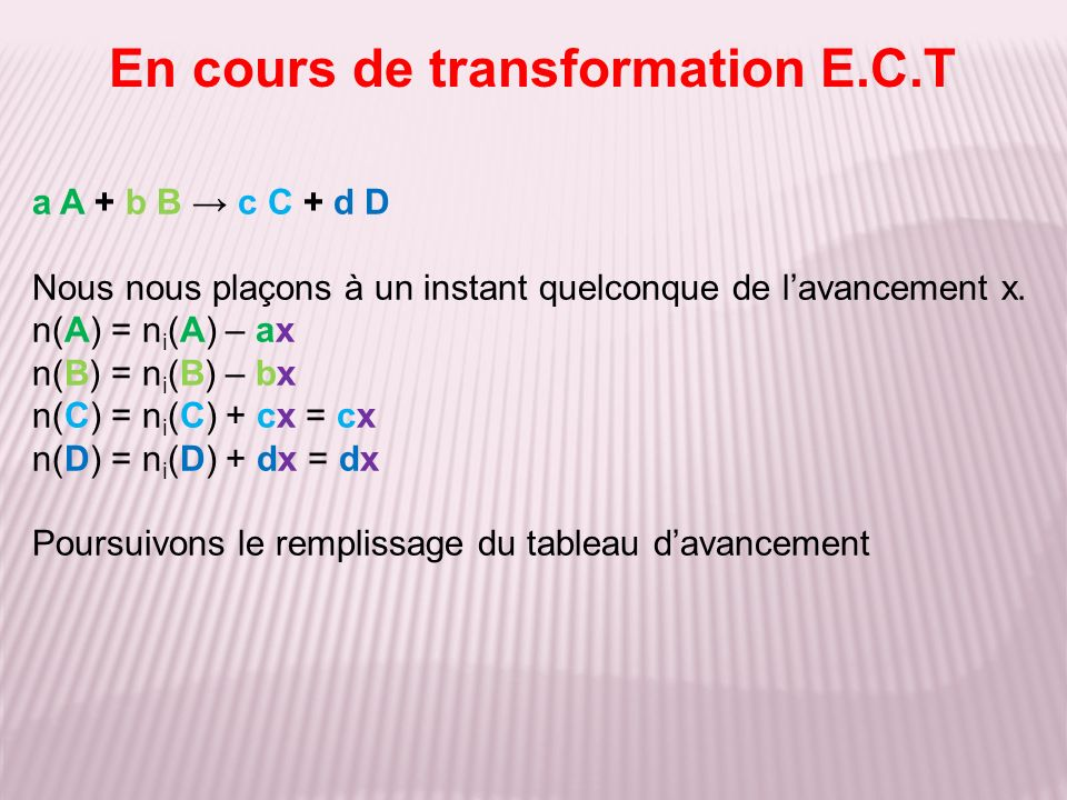 En cours de transformation E.C.T