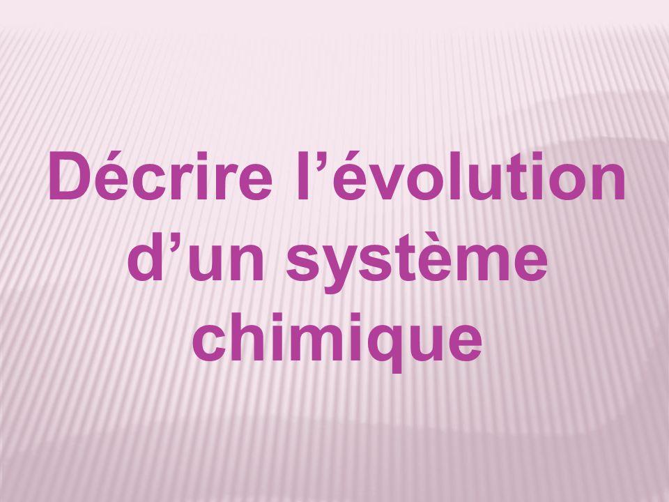 Décrire l'évolution d'un système chimique