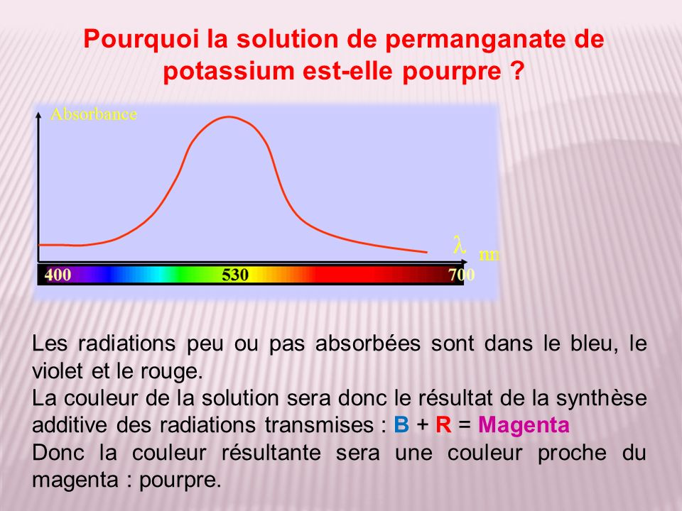 Pourquoi la solution de permanganate de potassium est-elle pourpre