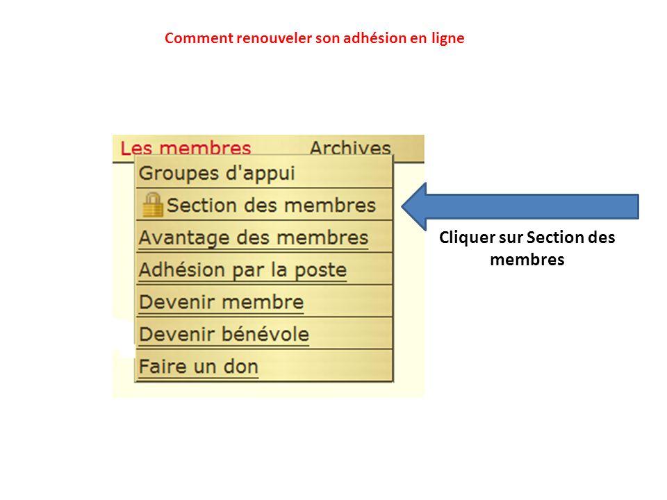 Cliquer sur Section des membres