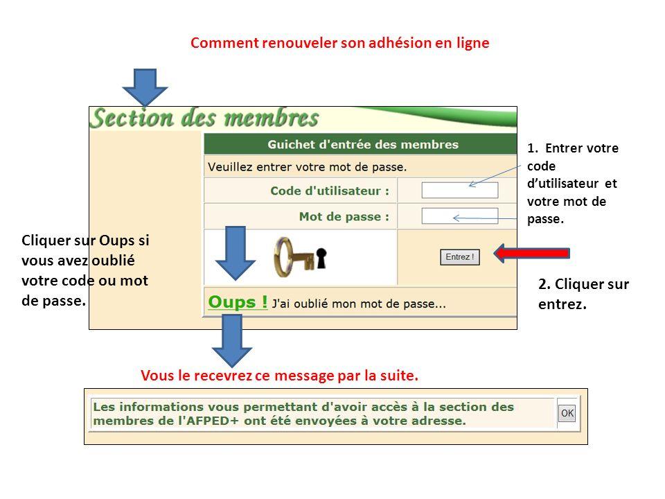 1. Entrer votre code d'utilisateur et votre mot de passe.