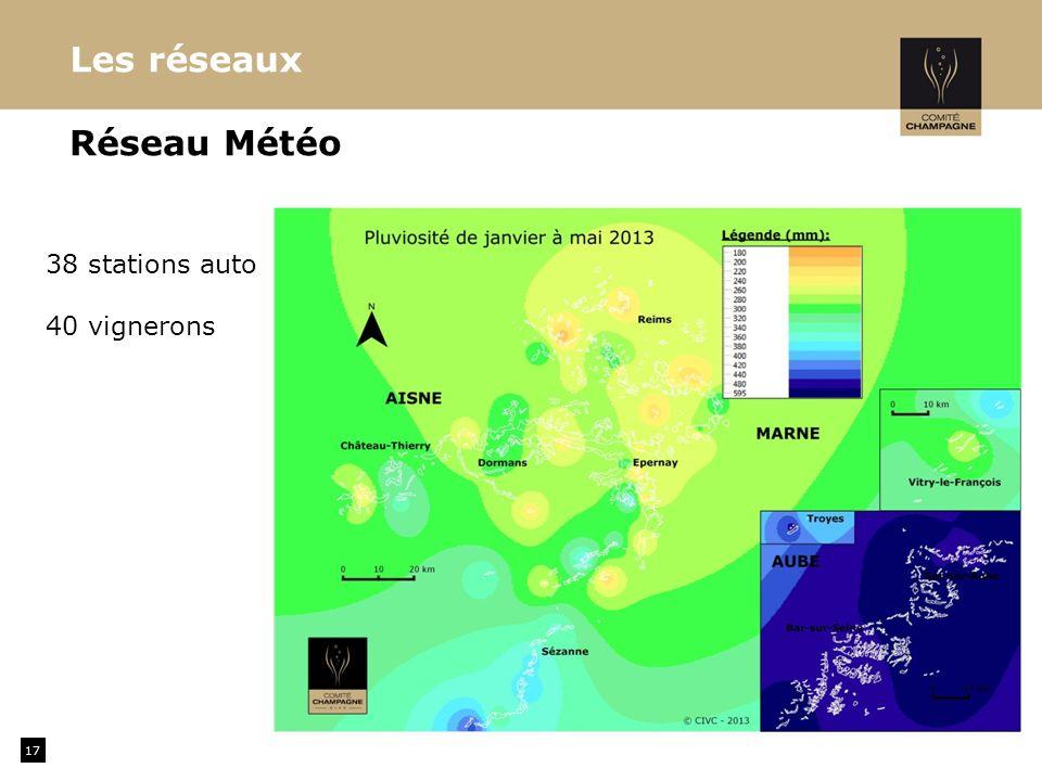 Les réseaux Réseau Météo 38 stations auto 40 vignerons