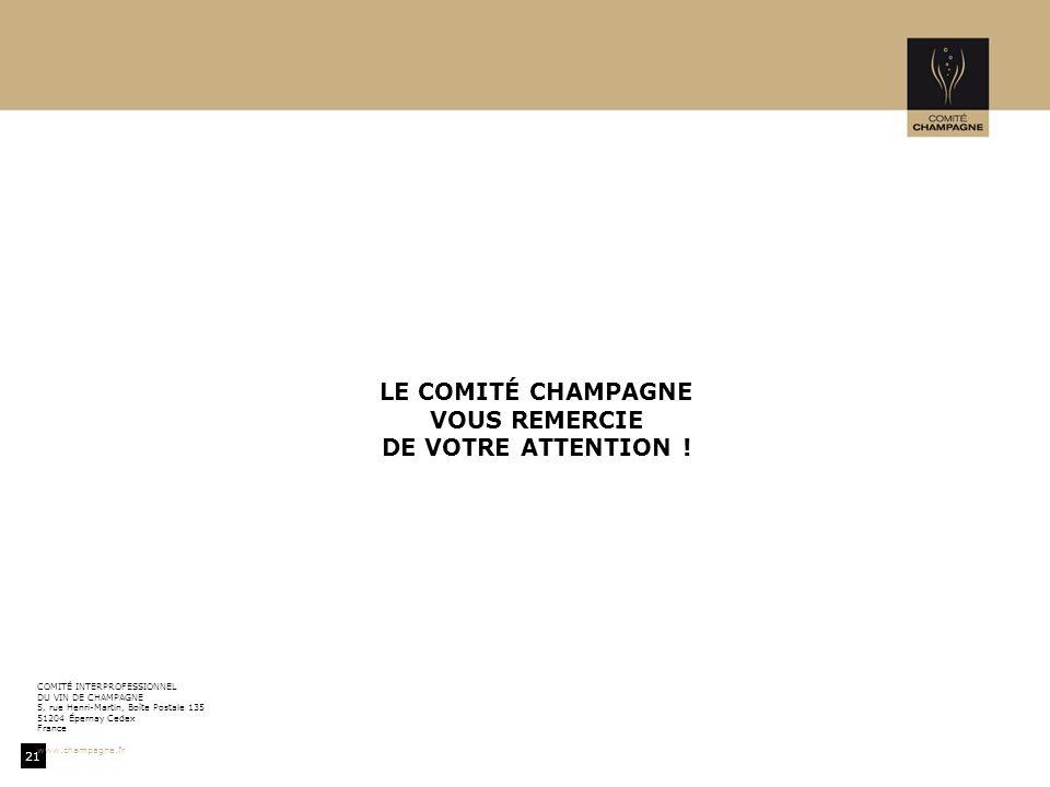 LE COMITÉ CHAMPAGNE VOUS REMERCIE DE VOTRE ATTENTION !