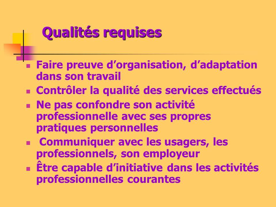 Qualités requises Faire preuve d'organisation, d'adaptation dans son travail. Contrôler la qualité des services effectués.