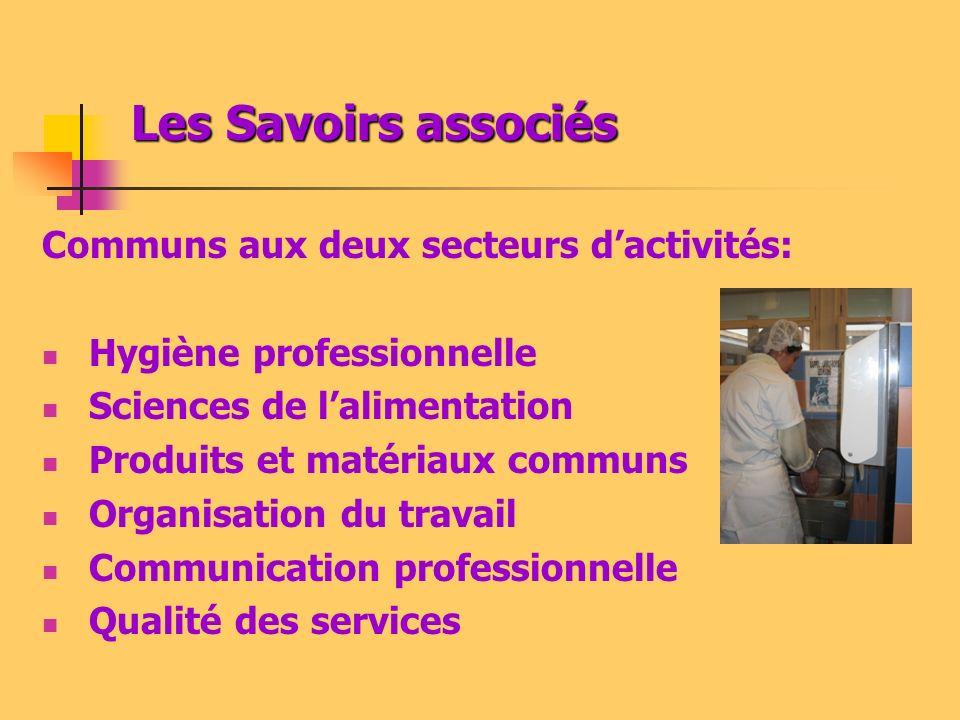 Les Savoirs associés Communs aux deux secteurs d'activités:
