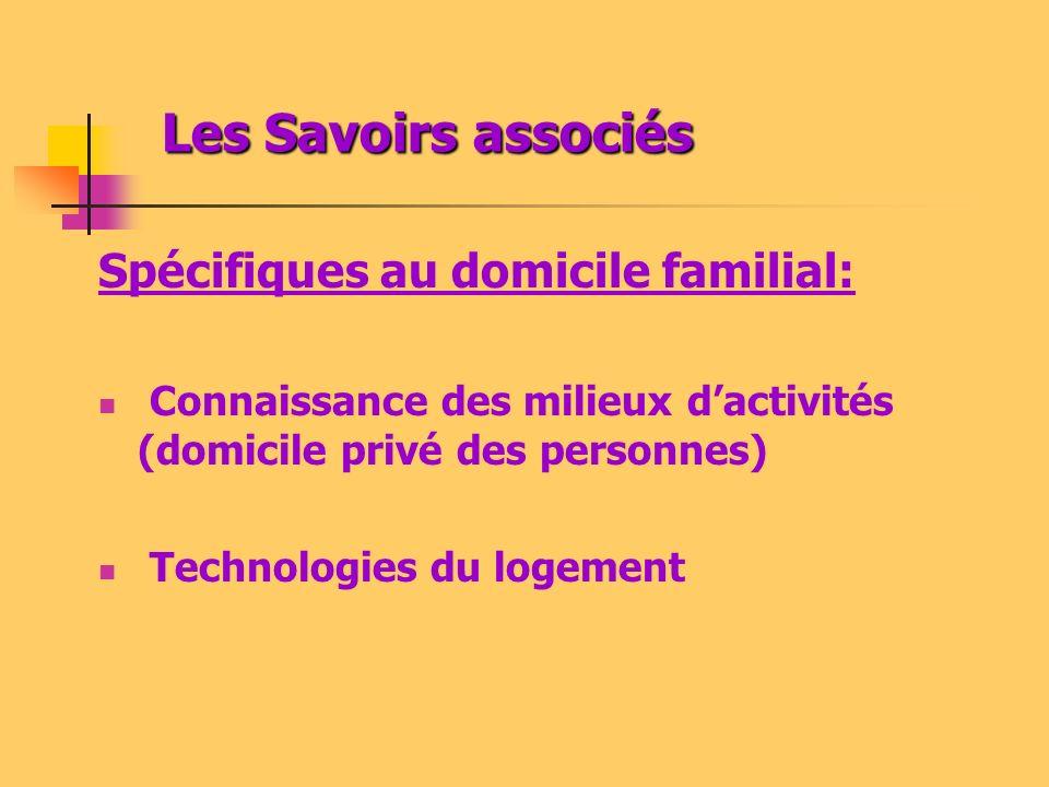 Les Savoirs associés Spécifiques au domicile familial:
