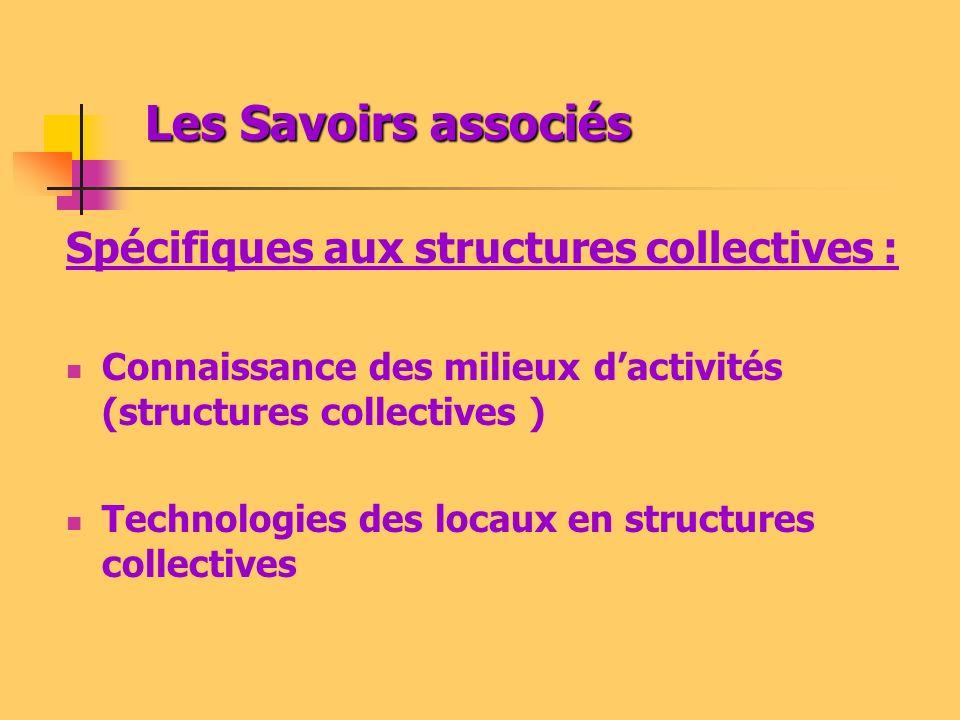 Les Savoirs associés Spécifiques aux structures collectives :