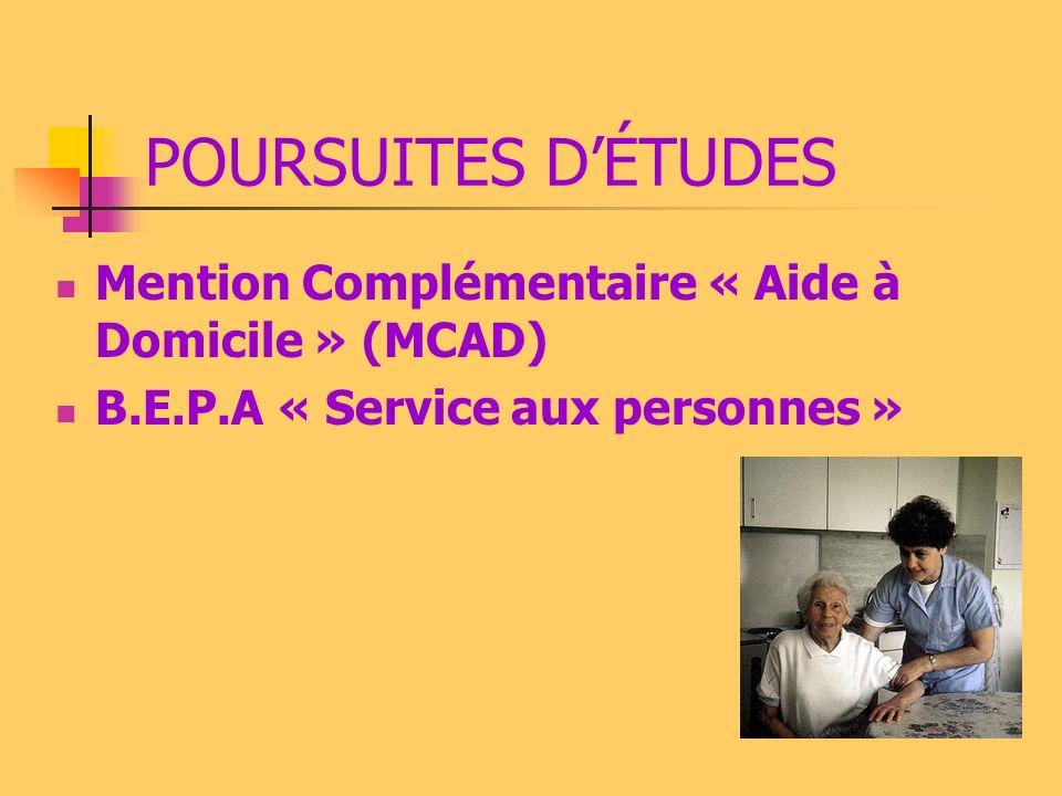 POURSUITES D'ÉTUDES Mention Complémentaire « Aide à Domicile » (MCAD)
