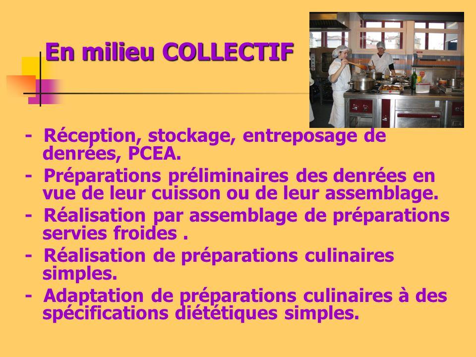 En milieu COLLECTIF - Réception, stockage, entreposage de denrées, PCEA.