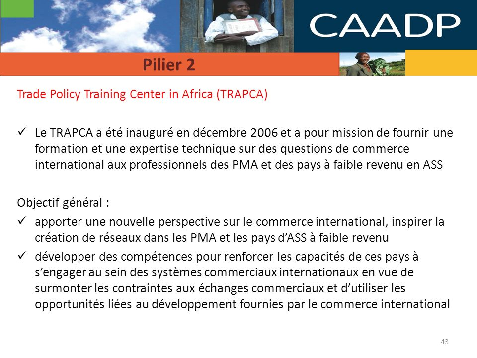 Pilier 2 Trade Policy Training Center in Africa (TRAPCA)
