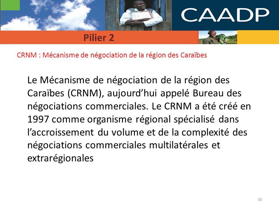 Pilier 2 CRNM : Mécanisme de négociation de la région des Caraïbes.