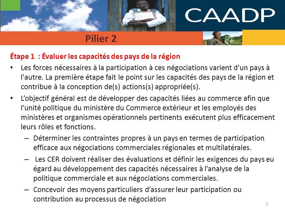 Pilier 2 Étape 1 : Évaluer les capacités des pays de la région