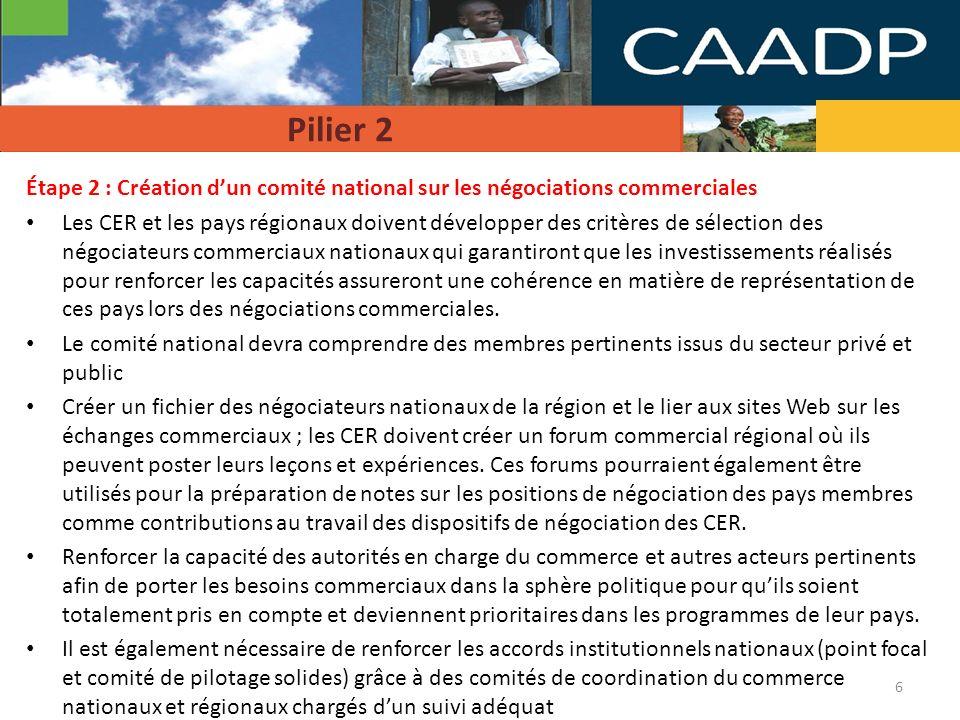 Pilier 2 Étape 2 : Création d'un comité national sur les négociations commerciales.