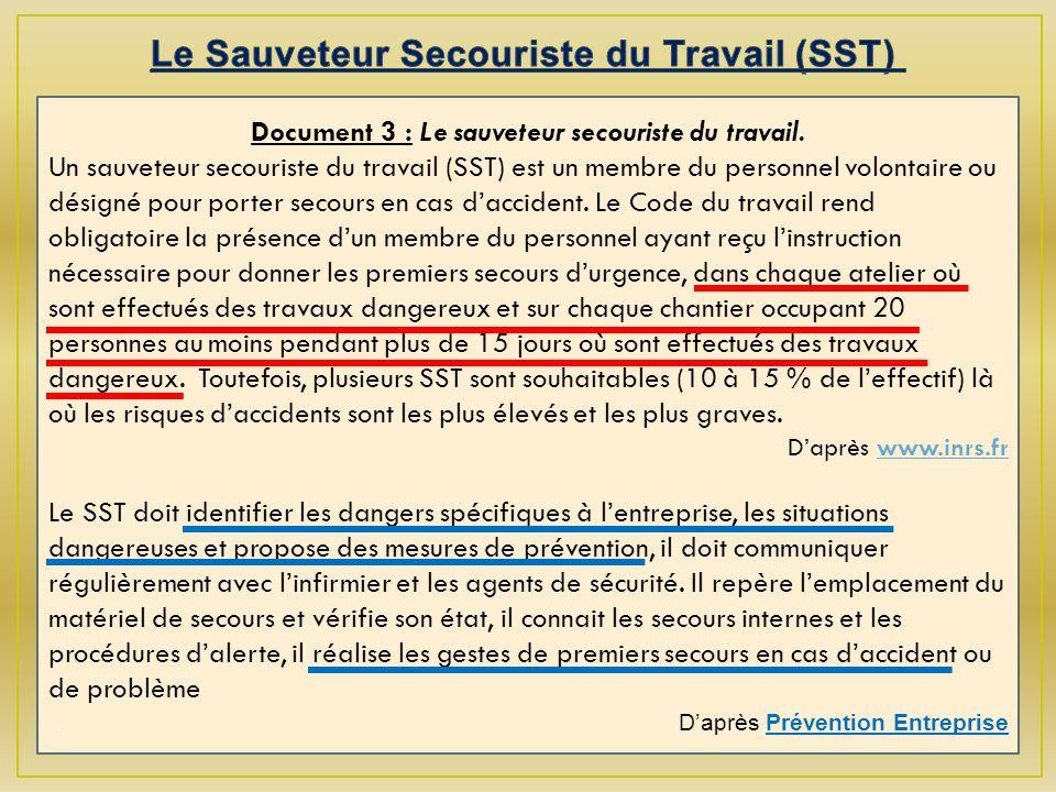 Le Sauveteur Secouriste du Travail (SST)