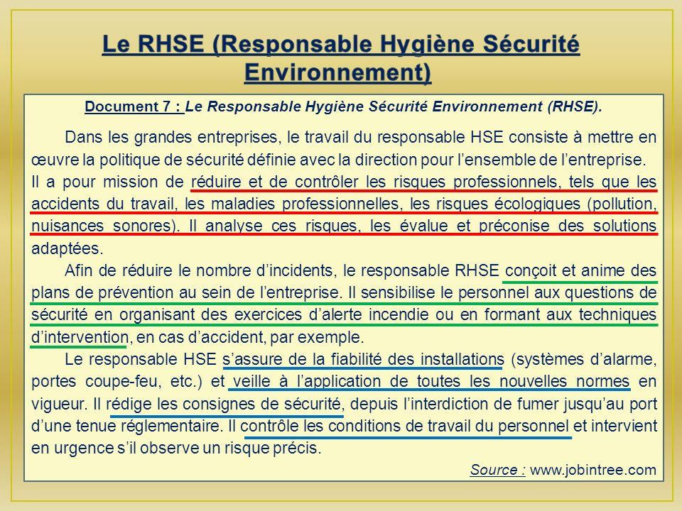 Le RHSE (Responsable Hygiène Sécurité Environnement)