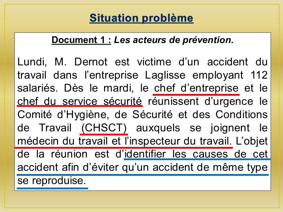 Document 1 : Les acteurs de prévention.