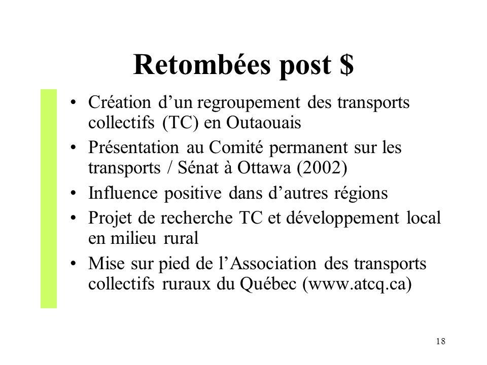 Retombées post $ Création d'un regroupement des transports collectifs (TC) en Outaouais.