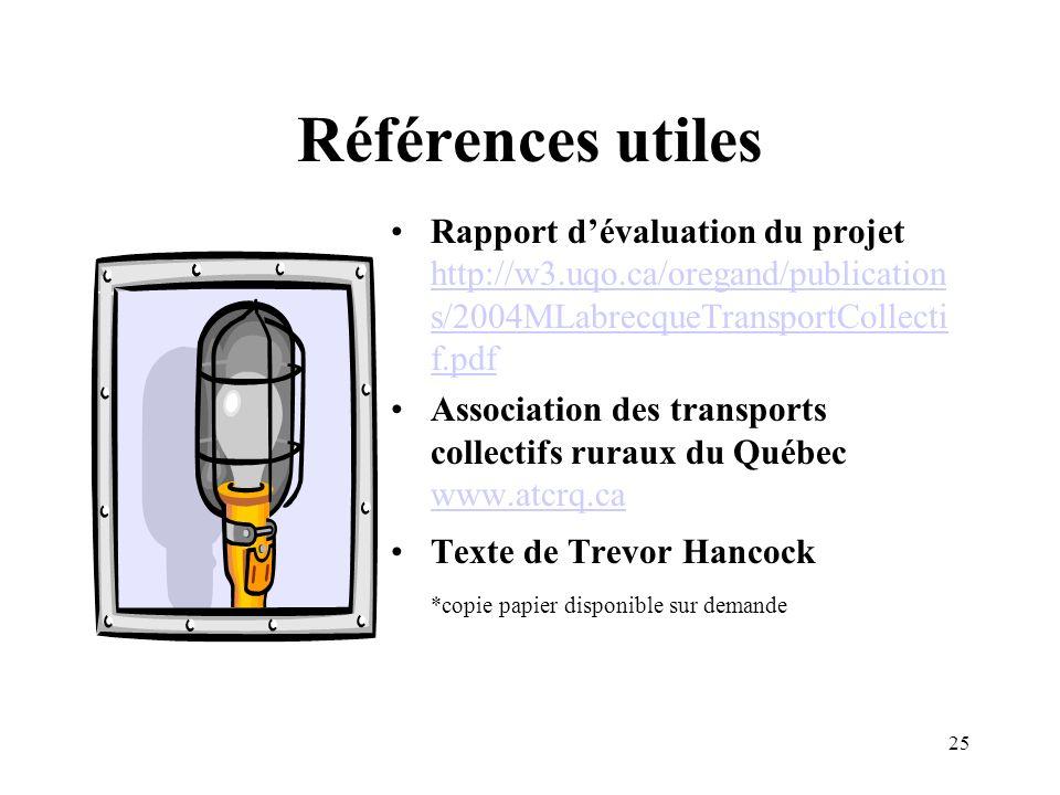 Références utiles Rapport d'évaluation du projet http://w3.uqo.ca/oregand/publications/2004MLabrecqueTransportCollectif.pdf.