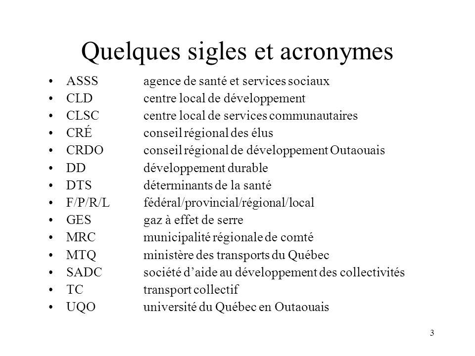 Quelques sigles et acronymes