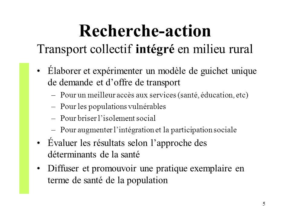 Recherche-action Transport collectif intégré en milieu rural