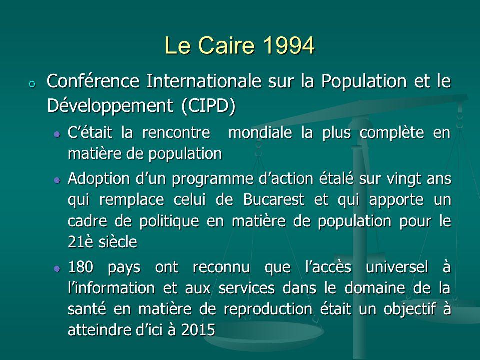 Le Caire 1994 Conférence Internationale sur la Population et le Développement (CIPD)