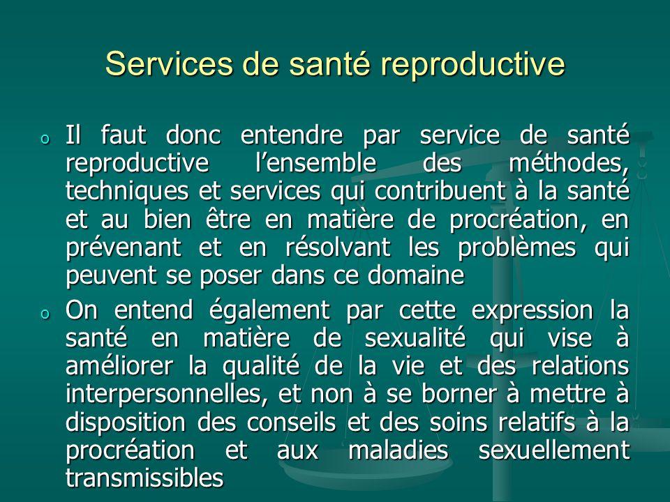 Services de santé reproductive