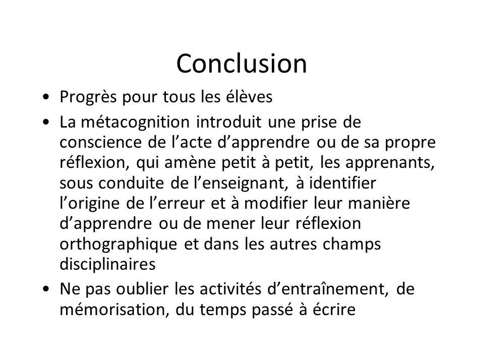 Conclusion Progrès pour tous les élèves