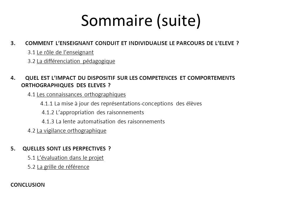 Sommaire (suite) 3. COMMENT L'ENSEIGNANT CONDUIT ET INDIVIDUALISE LE PARCOURS DE L'ELEVE 3.1 Le rôle de l'enseignant.