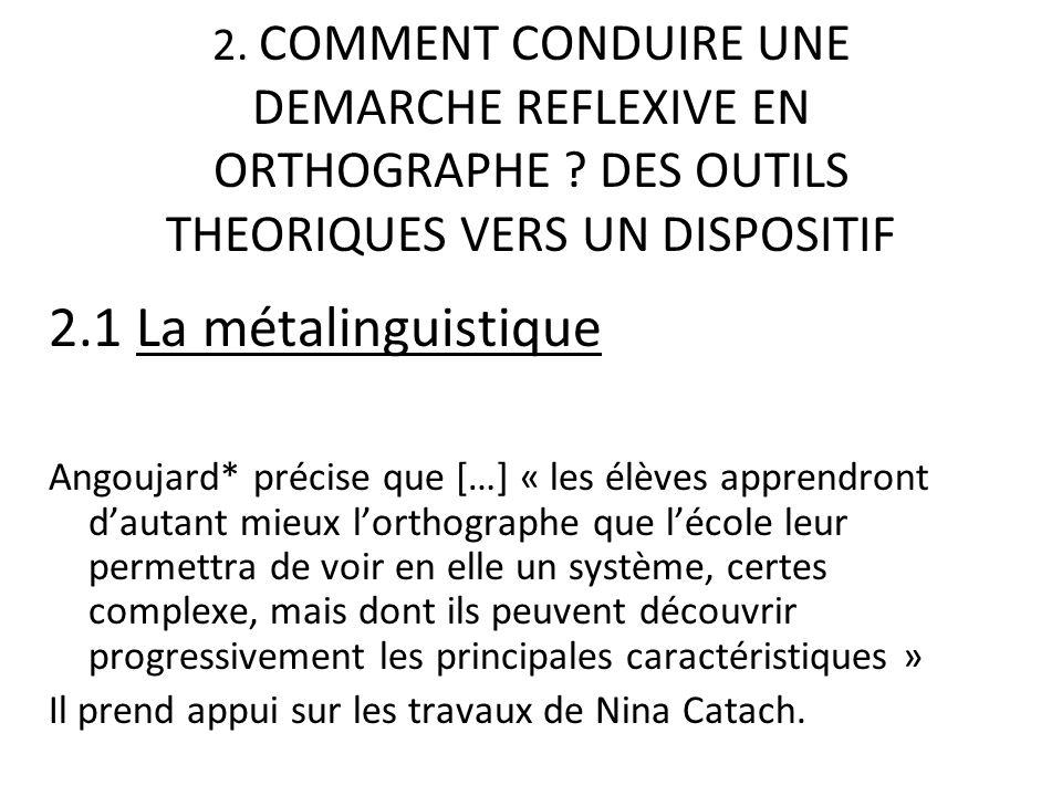 2. COMMENT CONDUIRE UNE DEMARCHE REFLEXIVE EN ORTHOGRAPHE