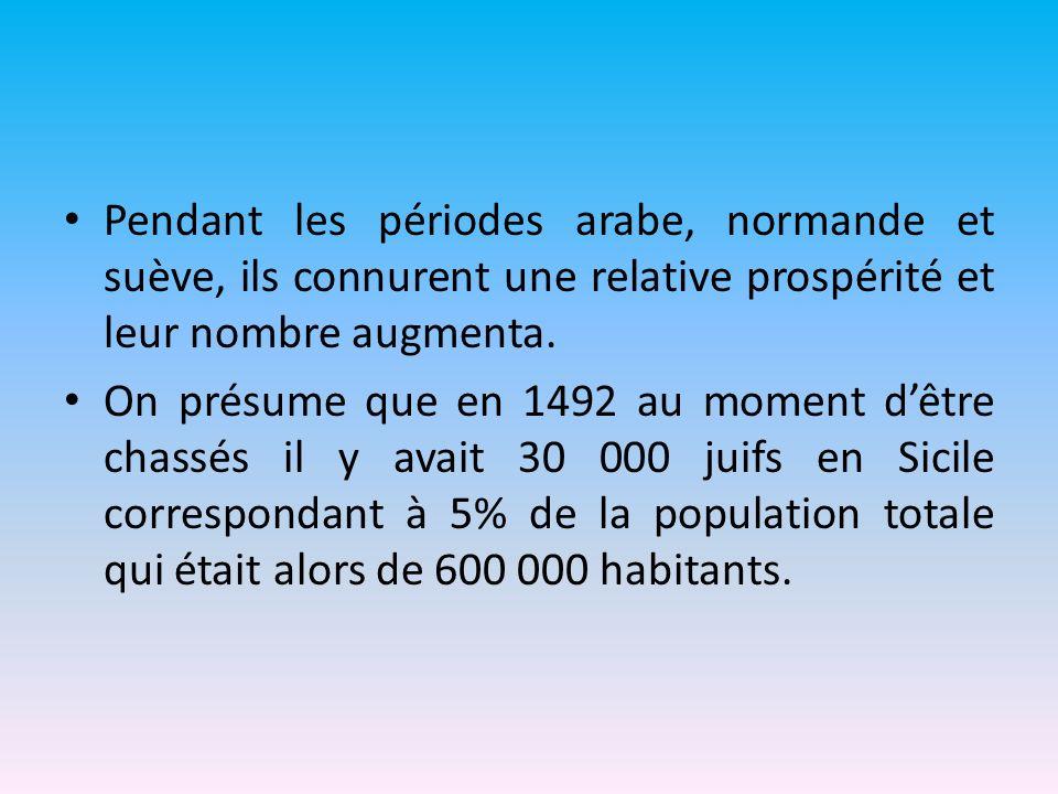 Pendant les périodes arabe, normande et suève, ils connurent une relative prospérité et leur nombre augmenta.