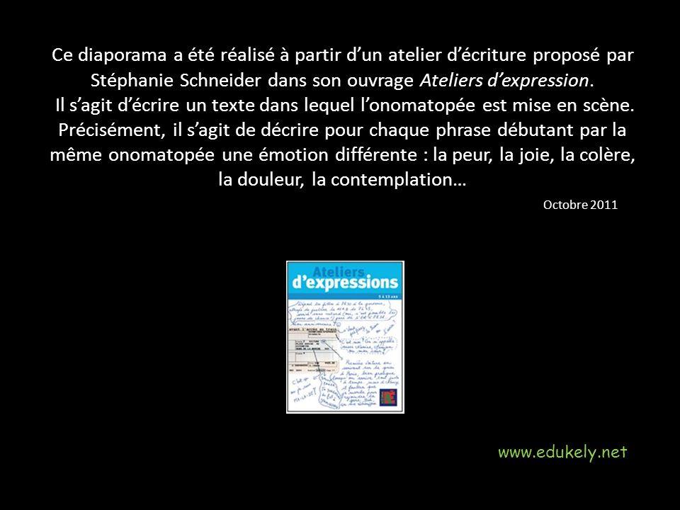 Ce diaporama a été réalisé à partir d'un atelier d'écriture proposé par Stéphanie Schneider dans son ouvrage Ateliers d'expression.