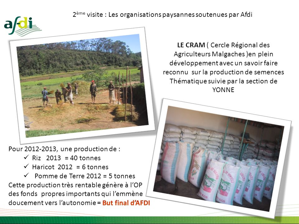 2ème visite : Les organisations paysannes soutenues par Afdi