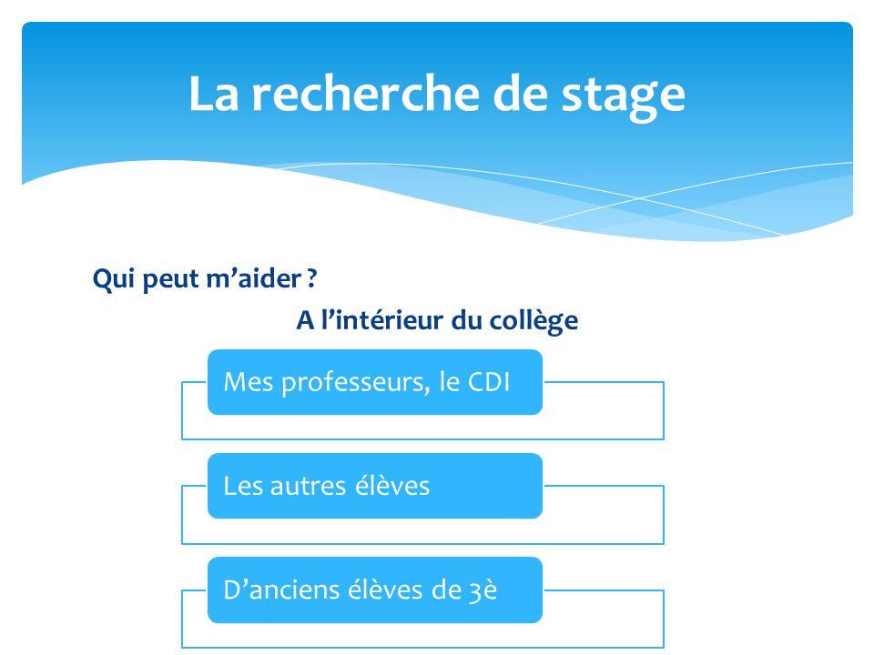 La recherche de stage Mes professeurs, le CDI