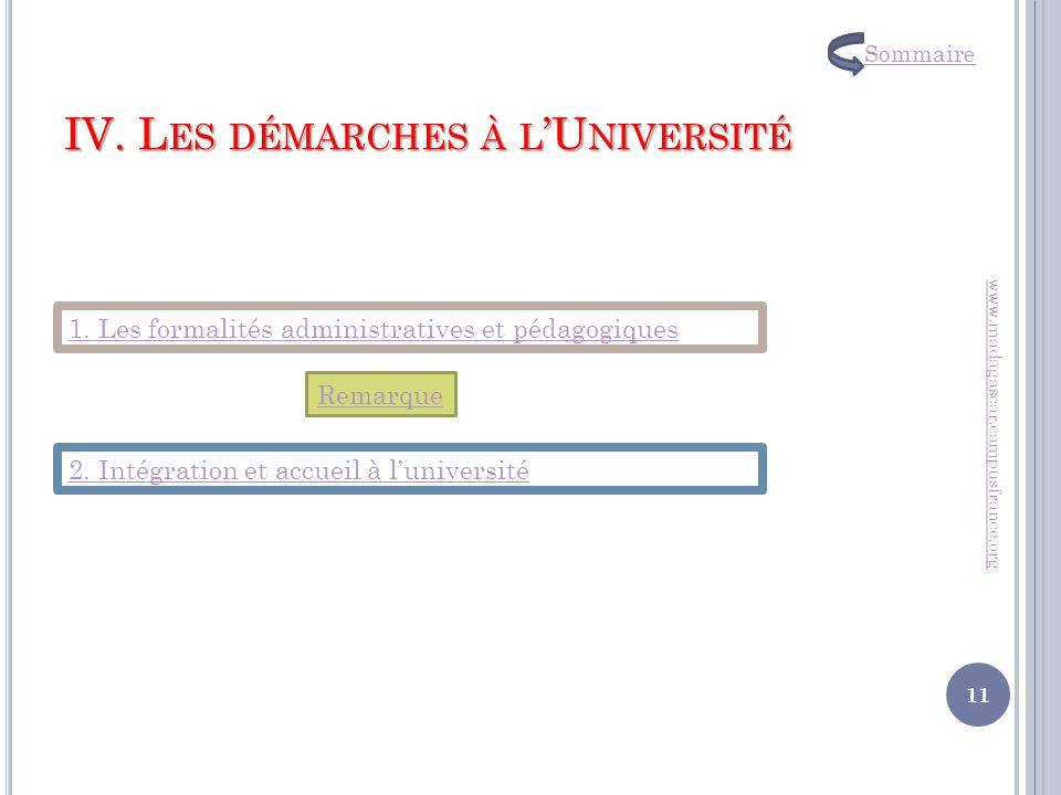 IV. Les démarches à l'Université