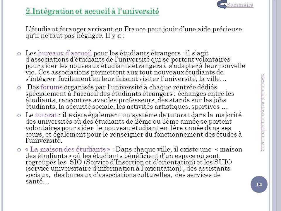 2.Intégration et accueil à l'université