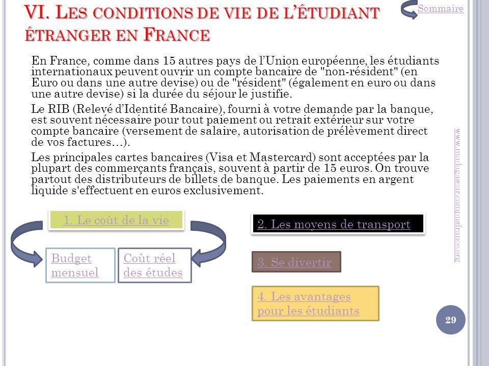 VI. Les conditions de vie de l'étudiant étranger en France