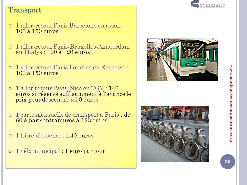 Transport 1 aller-retour Paris Barcelone en avion : 100 à 150 euros