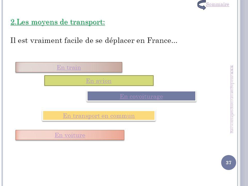 Sommaire 2.Les moyens de transport: Il est vraiment facile de se déplacer en France... En train. En avion.