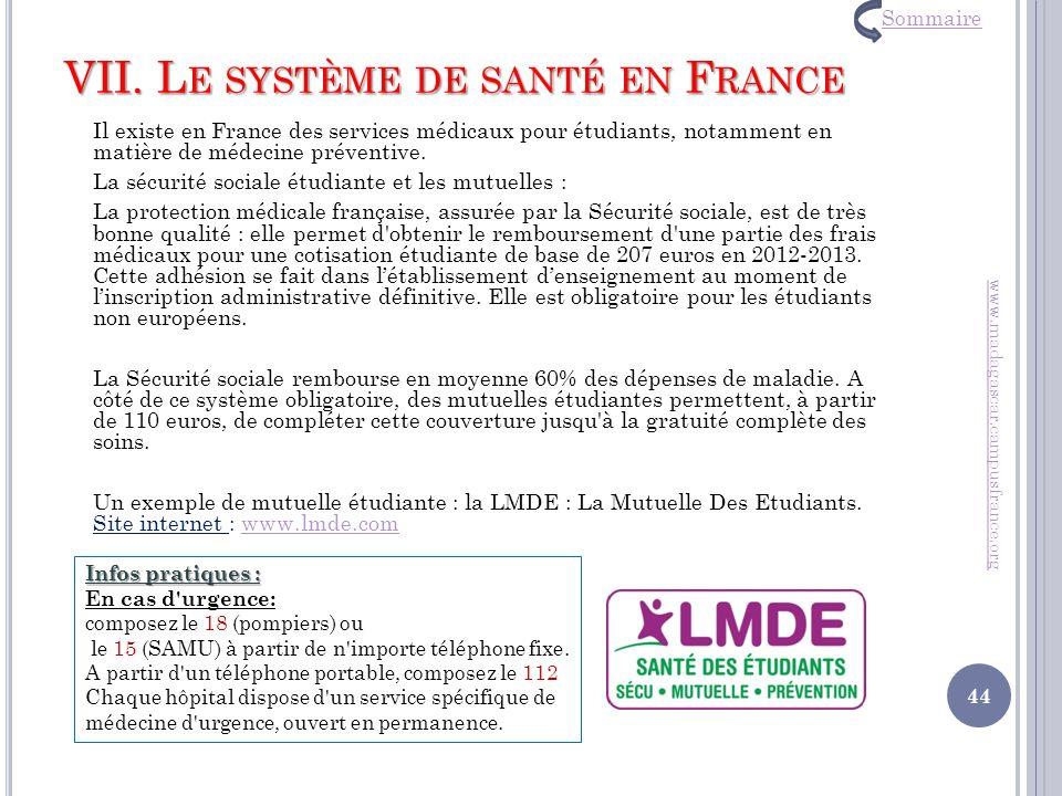 VII. Le système de santé en France