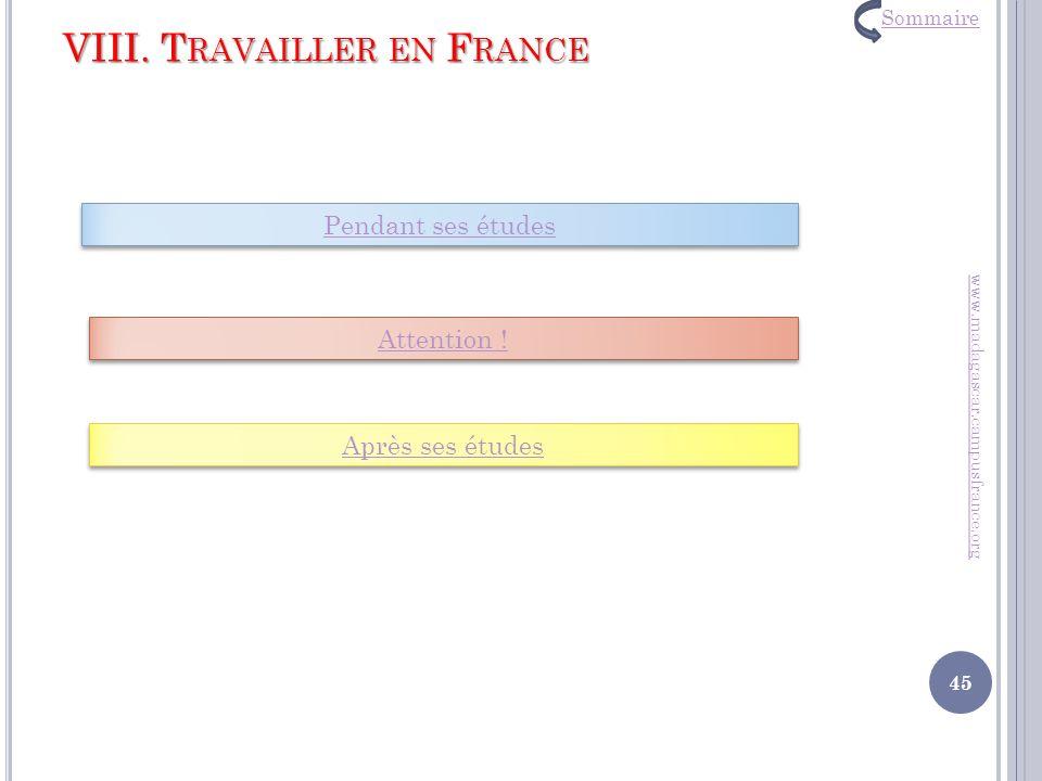 VIII. Travailler en France