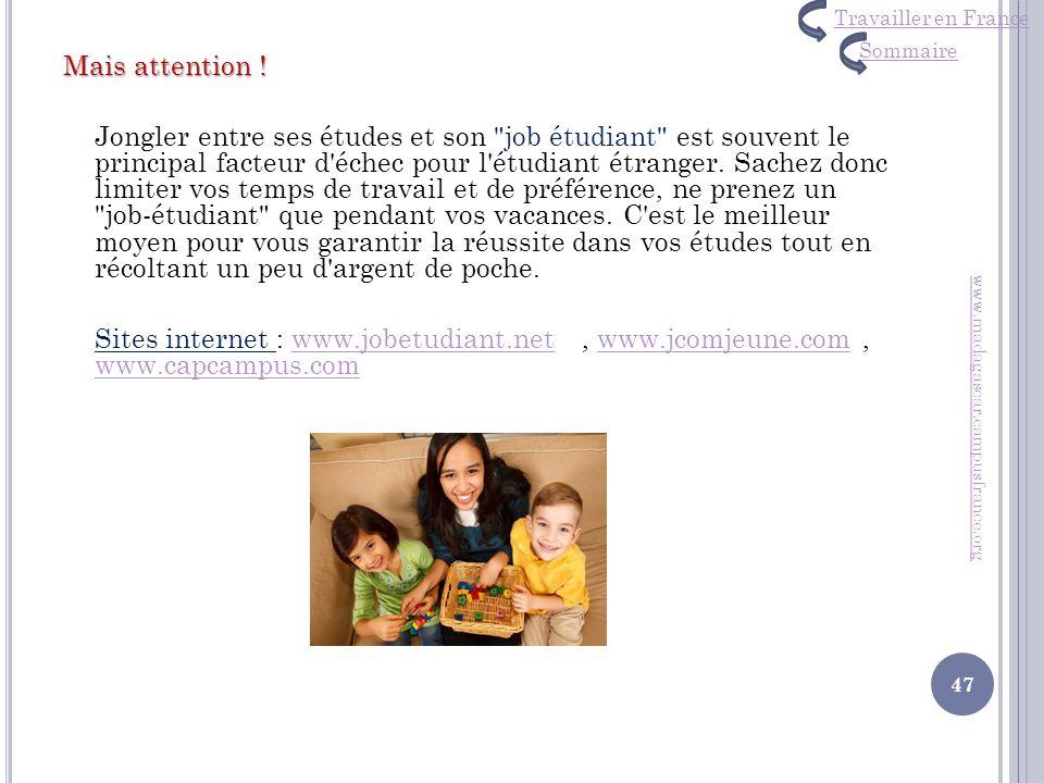Travailler en France Sommaire.