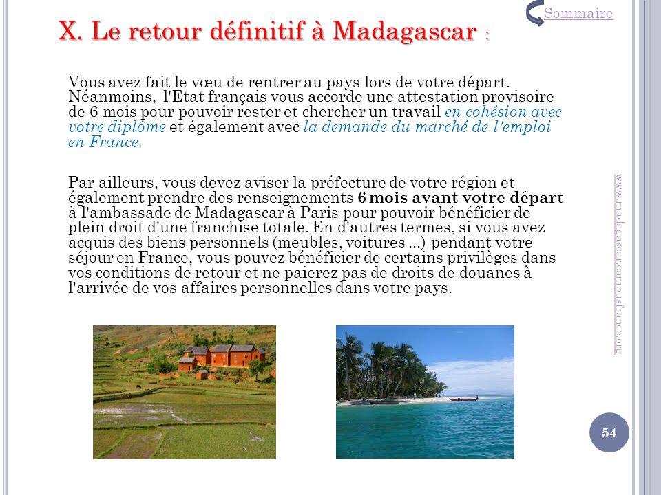 X. Le retour définitif à Madagascar :