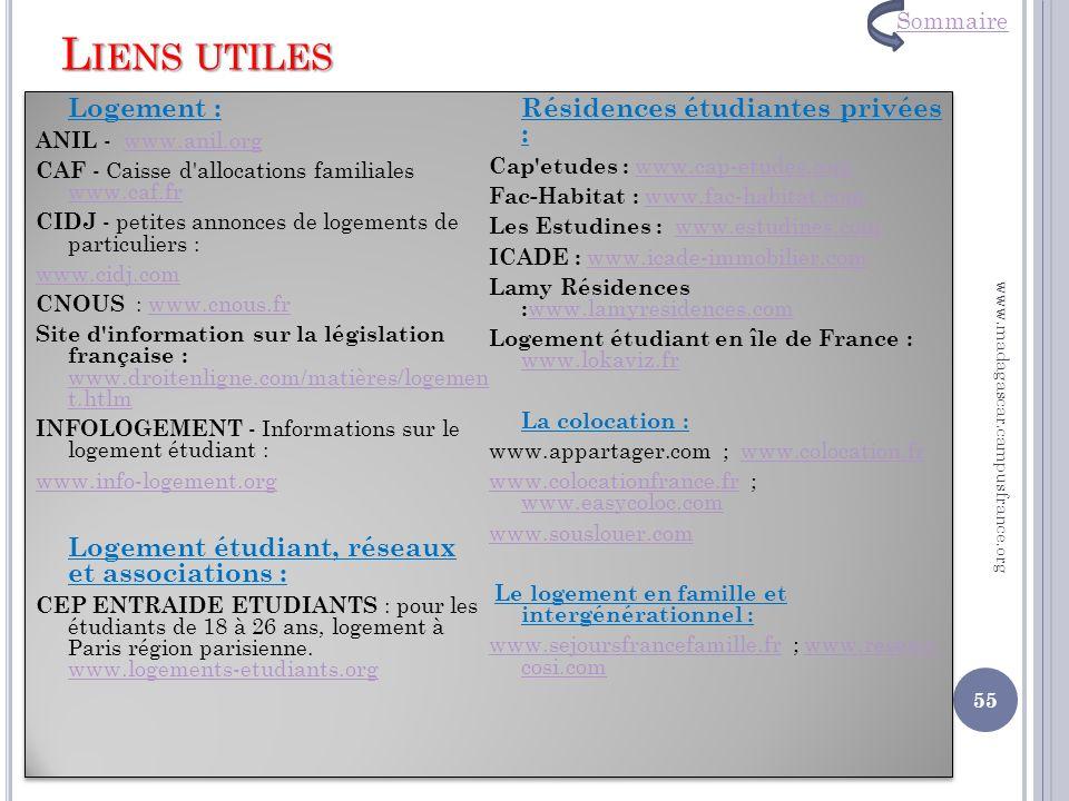 Liens utiles Logement : Logement étudiant, réseaux et associations :